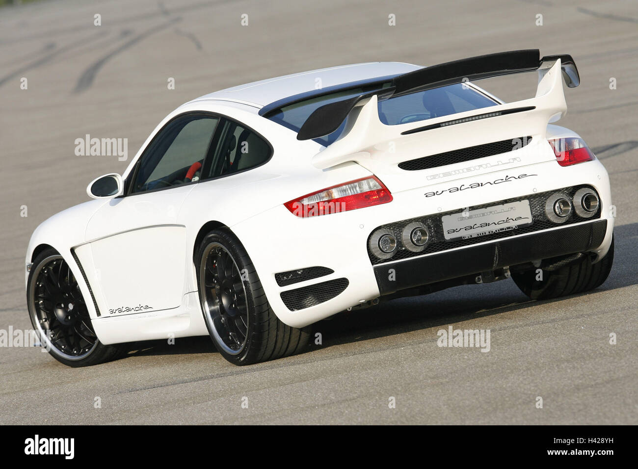 Gemballa Porsche, Avalanche, white, diagonally, rear view, aslant, - Stock Image