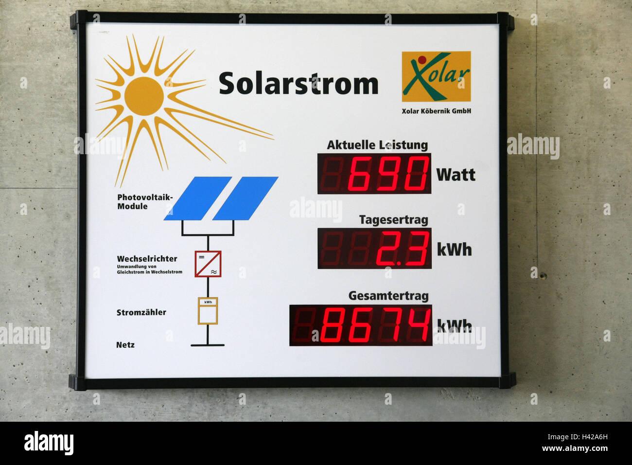 Indicator panel, solar power, detail, Germany, Bavaria, Upper Palatinate, Regensburg, advanced technical college, - Stock Image