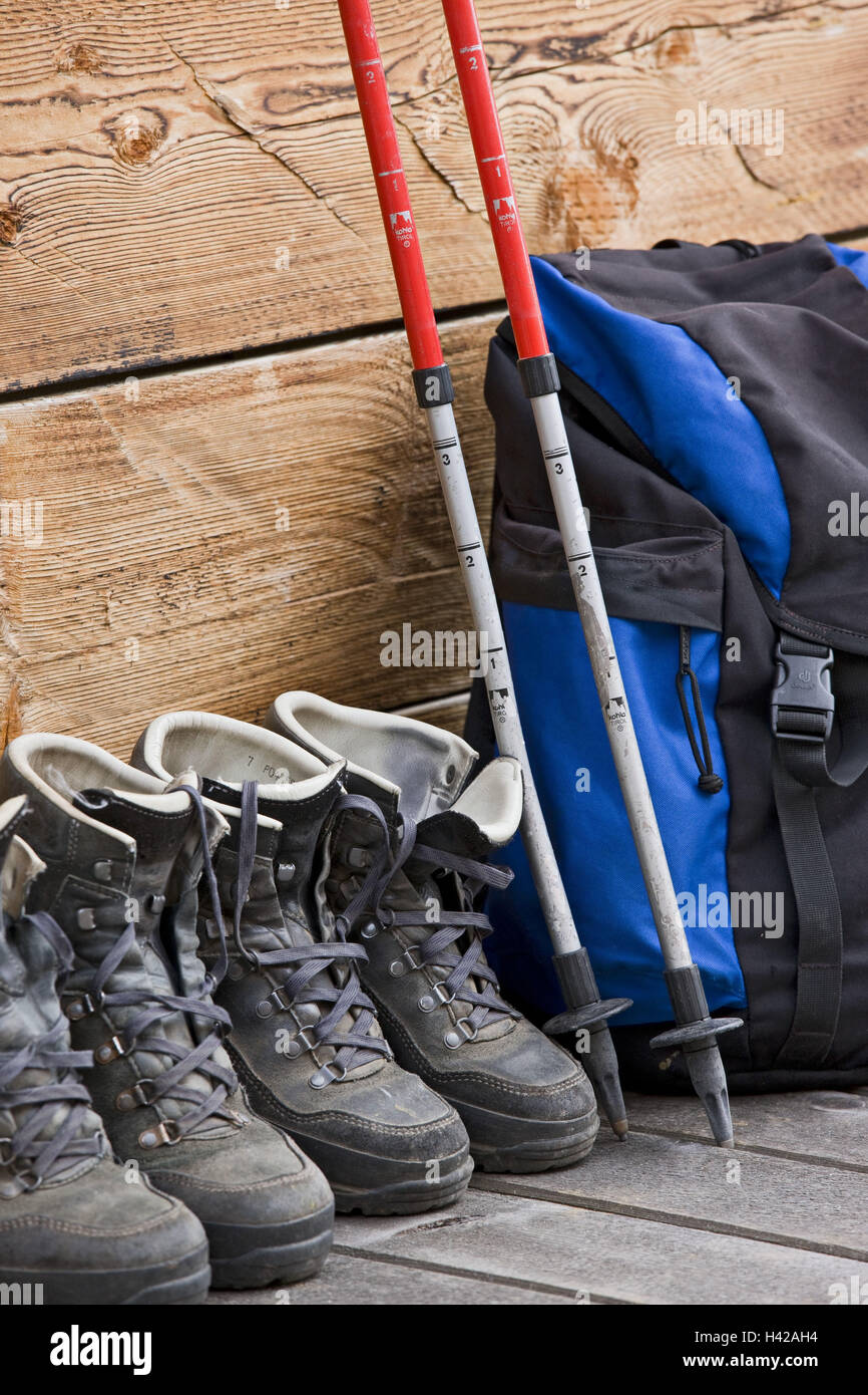 Travelling shoes, backpack, travelling floors, - Stock Image