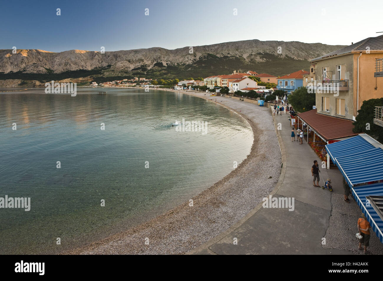 Croatia, Kvarner bay, island Krk, city Baska, beach, bay, sea, - Stock Image
