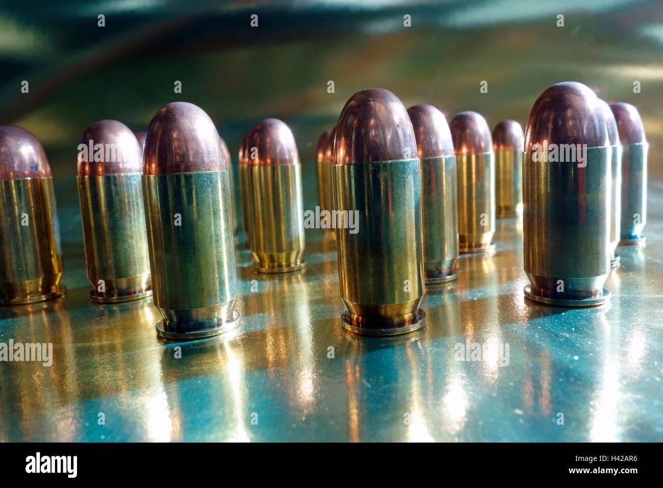 Colt .45 ACP auto automatic pistol handgun bullets - Stock Image
