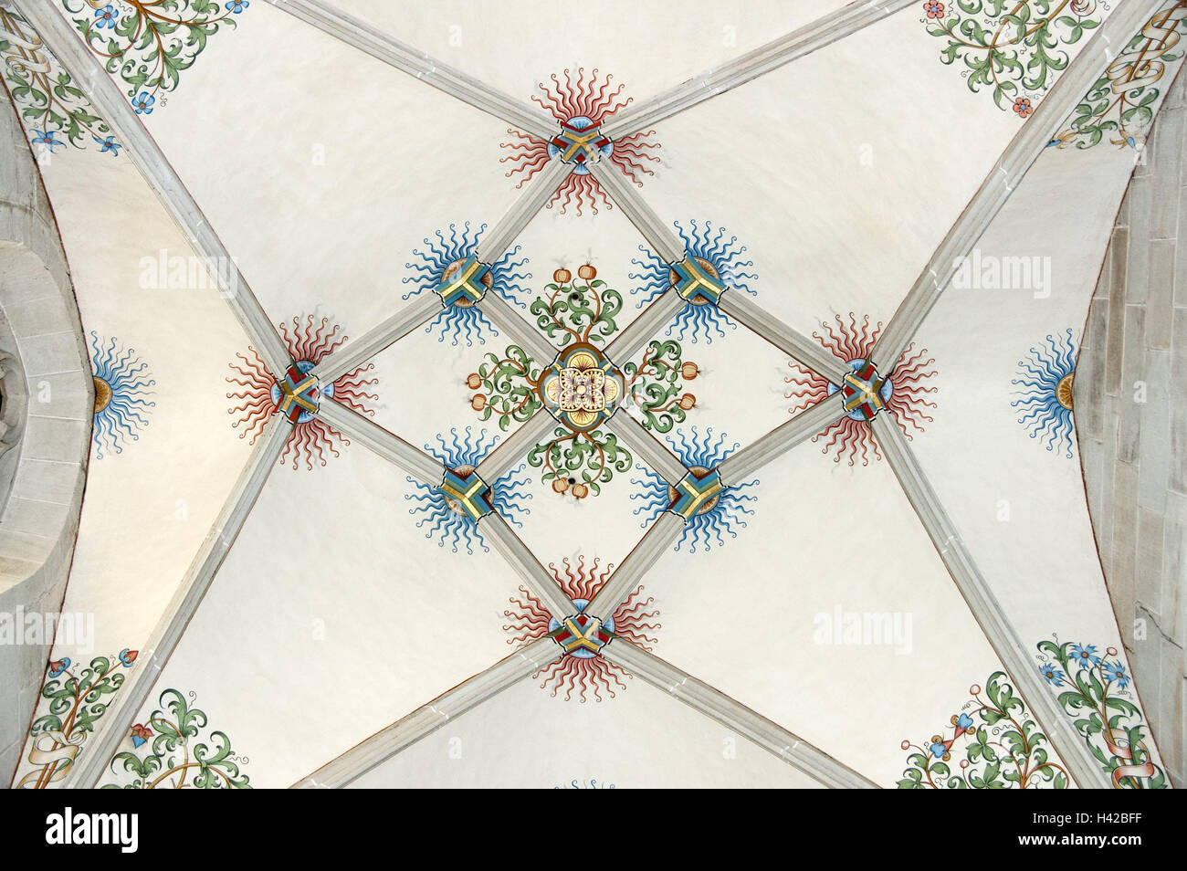 Minster, stellar vault, detail, Germany, Baden-Wurttemberg, Tübingen, church, long house, long house dome, stellar Stock Photo