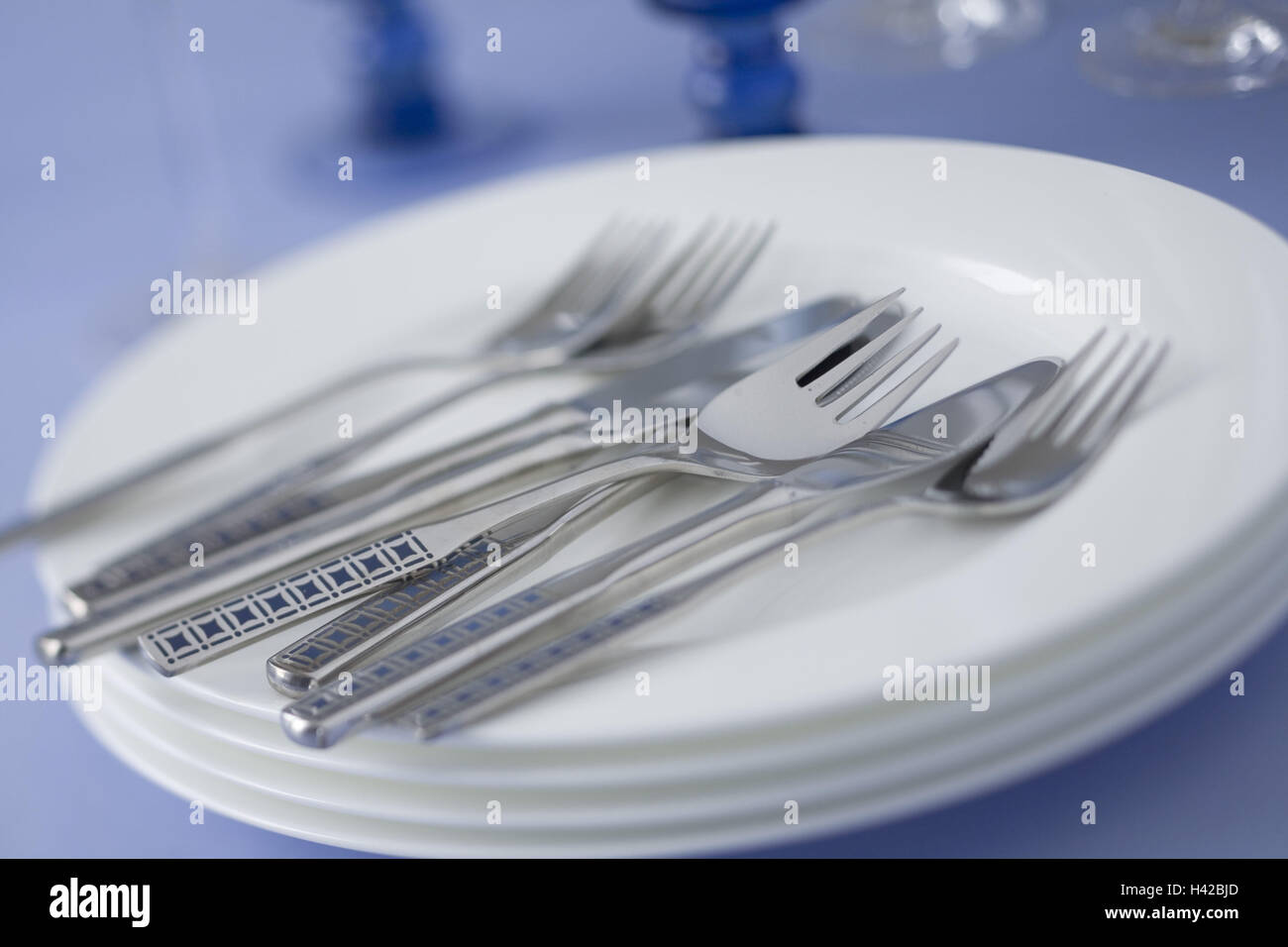 Plate, stacked, flatware, - Stock Image