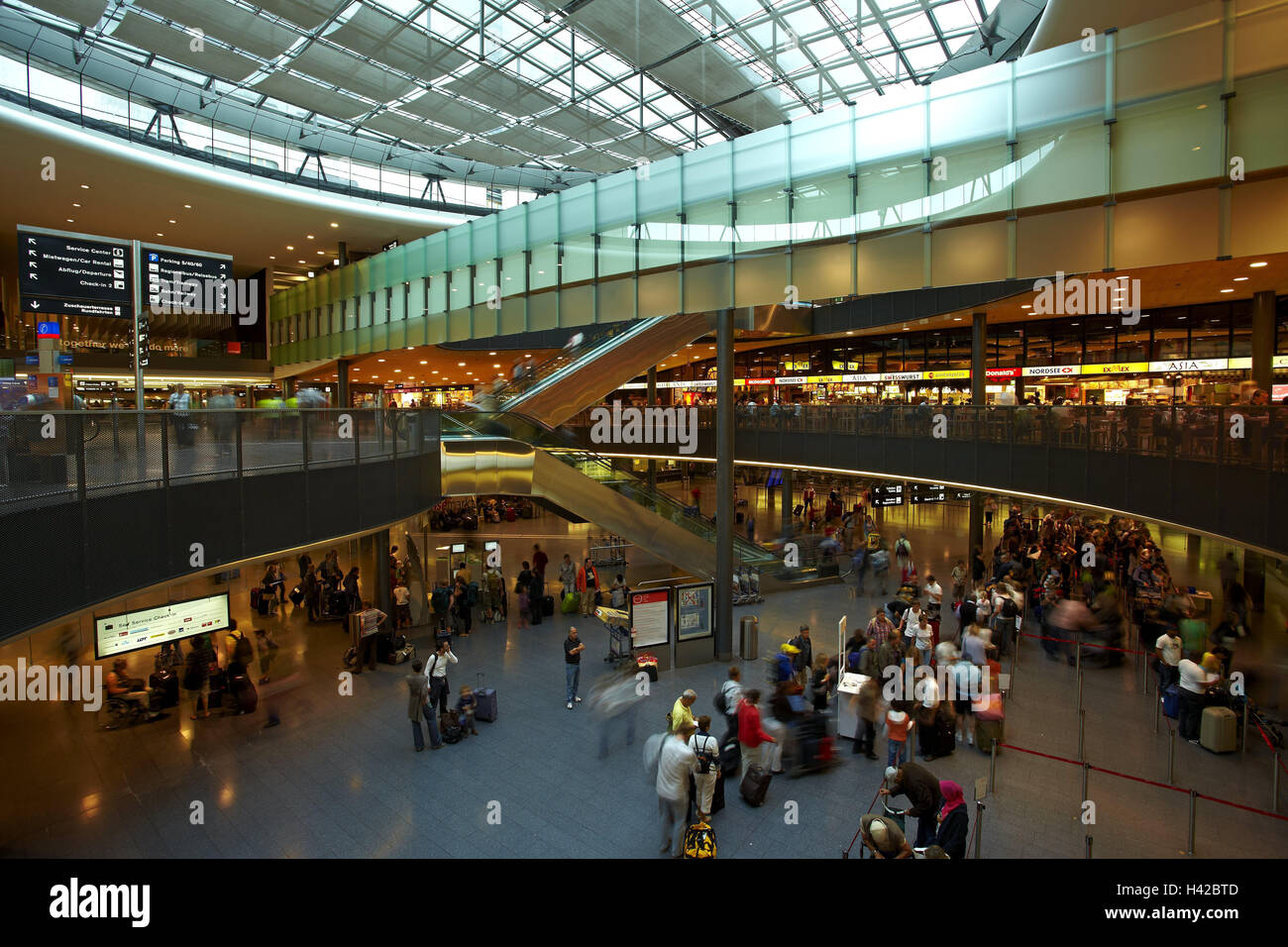 Switzerland, Zurich, airport, hall, tourist, airport hall, building, glass roof, information switch, ticket switch, - Stock Image