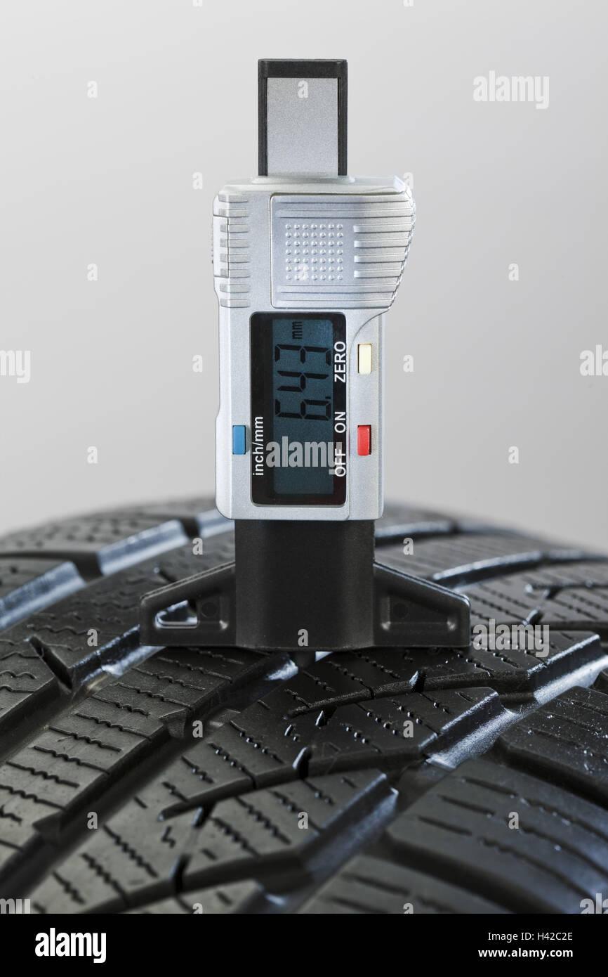Controls, tread deepness, measuring instrument, automobile tyre, - Stock Image