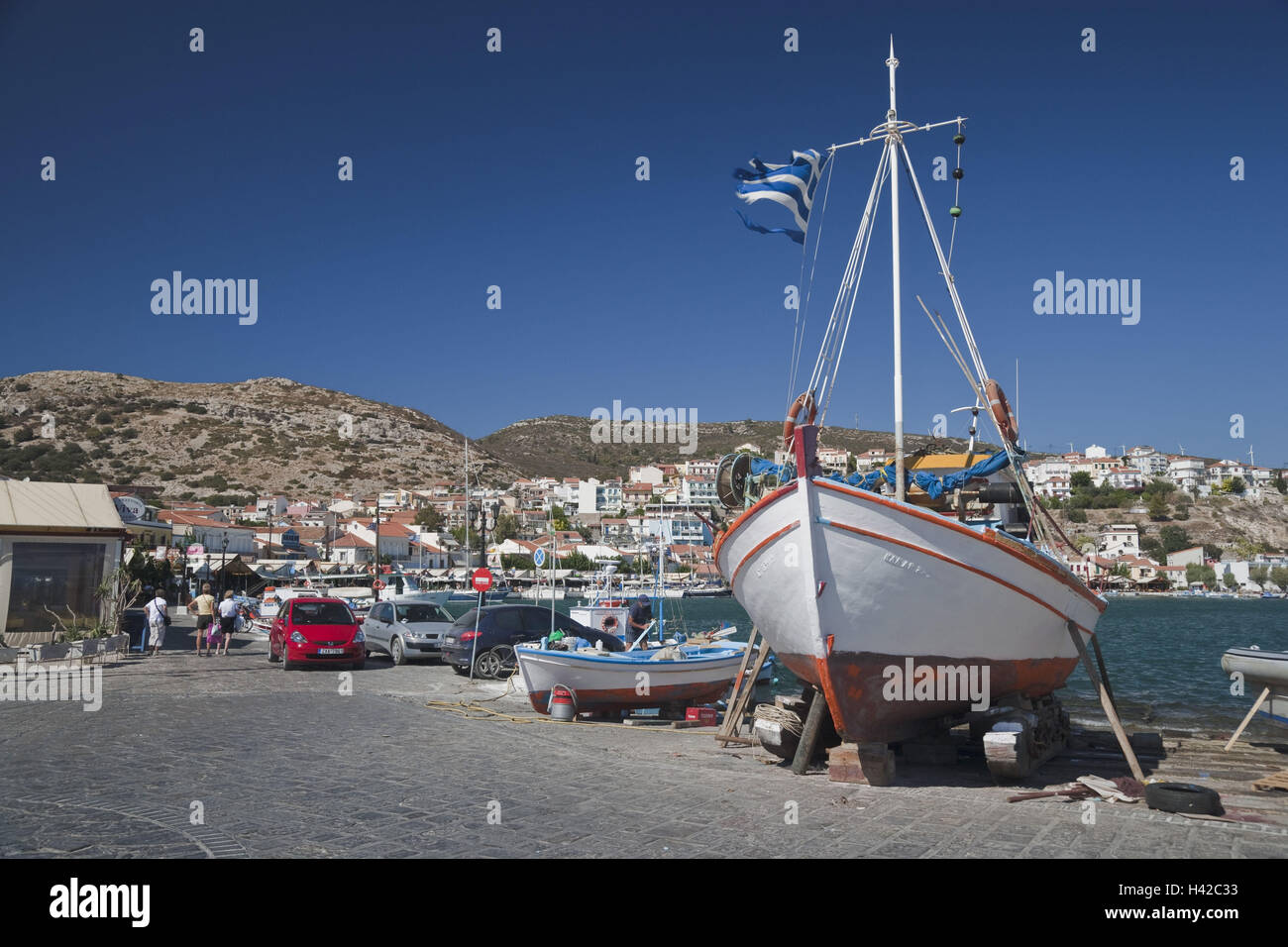 Fishing boats, harbour, Pythagorion, island Samos, Mediterranean island, Greece, Europe, Stock Photo