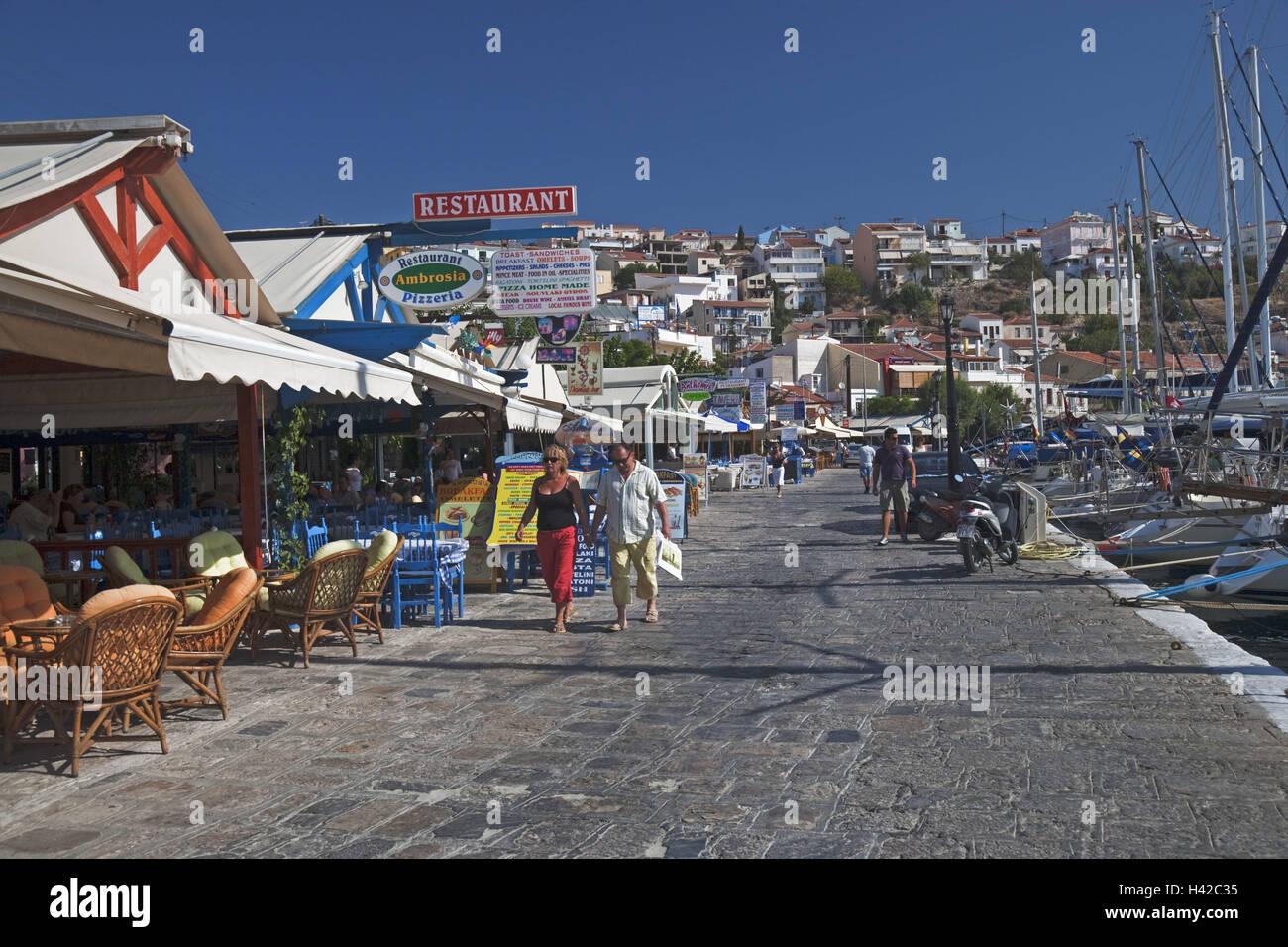 Harbour promenade, Pythagorion, island Samos, Mediterranean island, Greece, Europe, Stock Photo