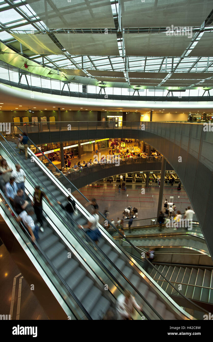 Switzerland, Zurich, airport, hall, tourist, airport hall, building, glass roof, main hall, escalators, bars, terminal, - Stock Image
