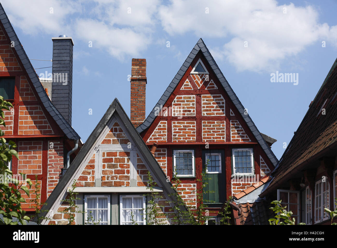 Luneburg, half-timbered house gable in the Old Town, - Stock Image