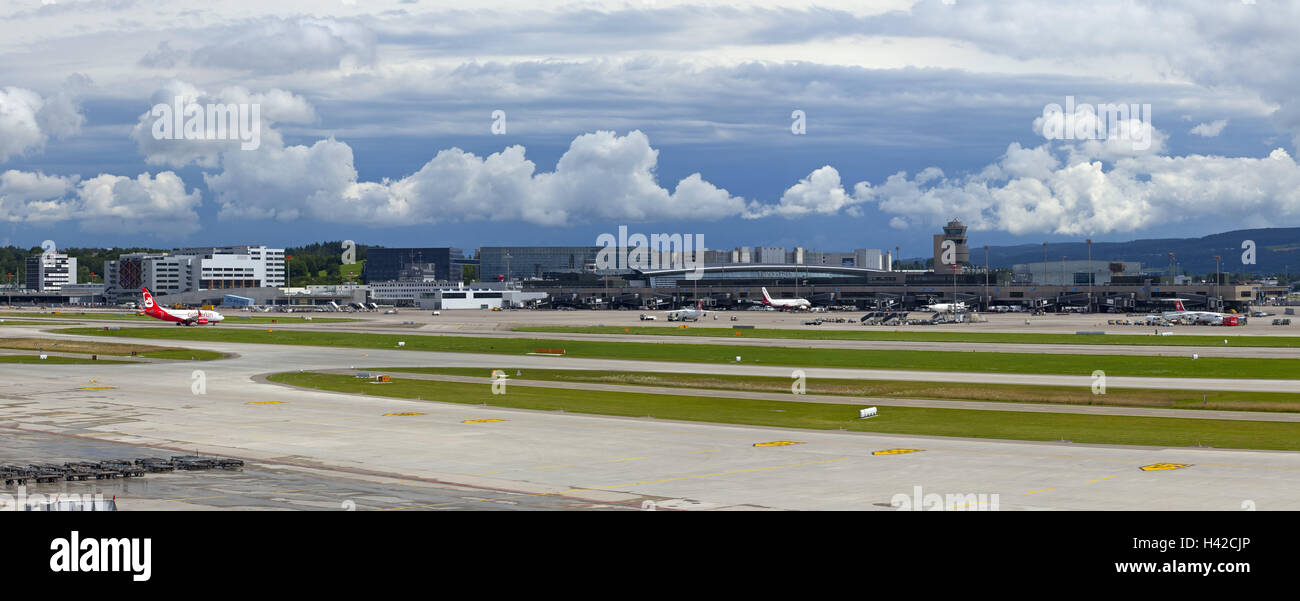 Switzerland, Zurich, airport, airfield, airport grounds, terminal, landing field, glaucoma trajectories, runways, - Stock Image