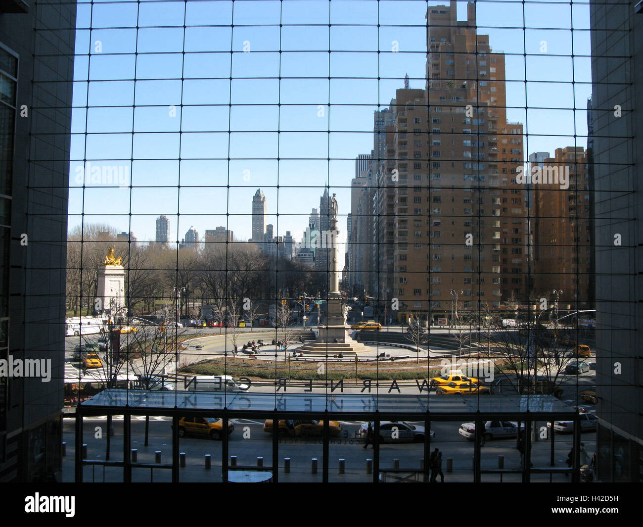 The USA, New York city, Columbus Circle, detail, North America, town, city, building, houses, architecture, high Stock Photo