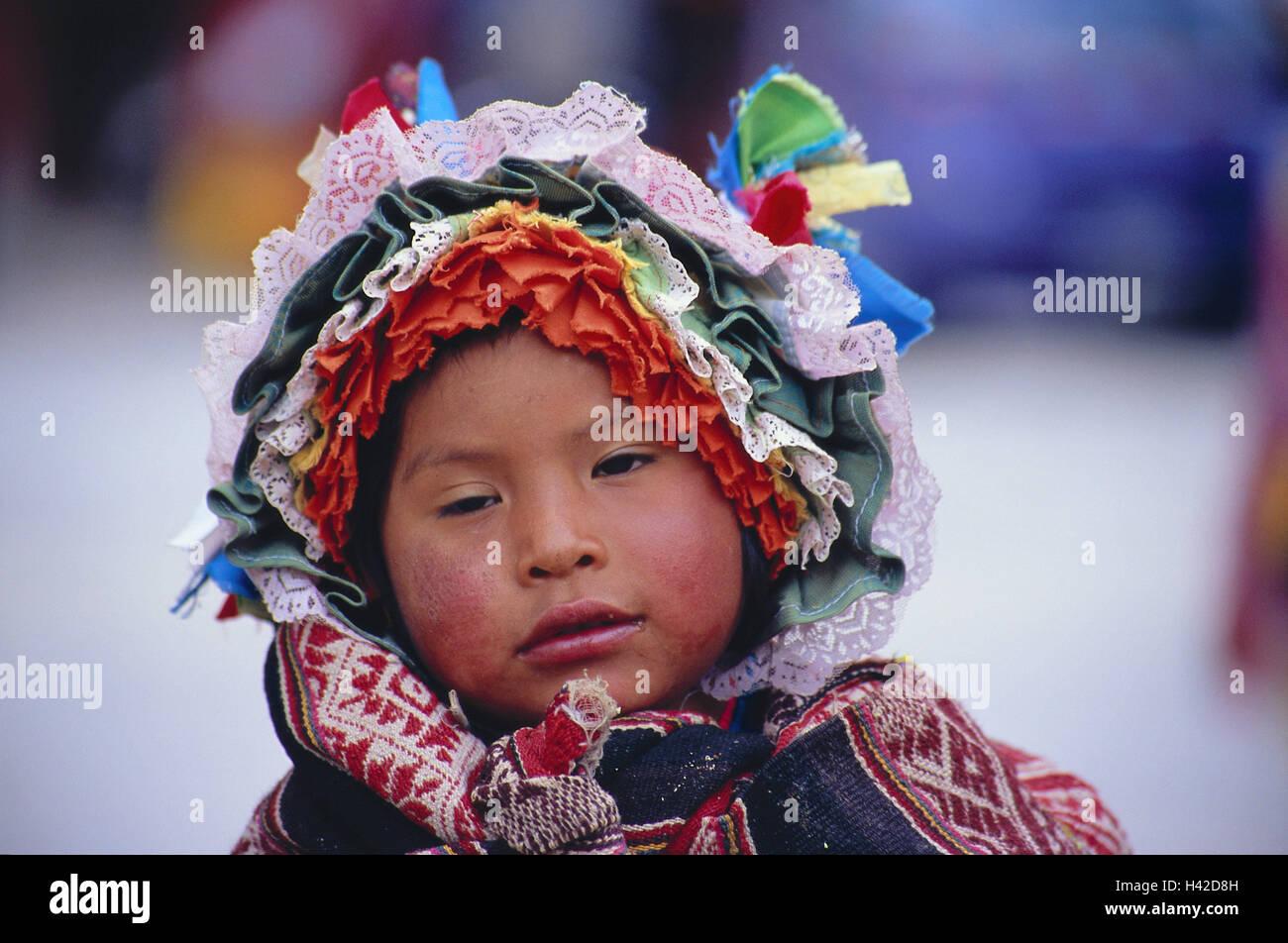 Peru, Cuzco, Inca Markt, child, national costume, portrait, no model release, South America, town, person, locals, Stock Photo