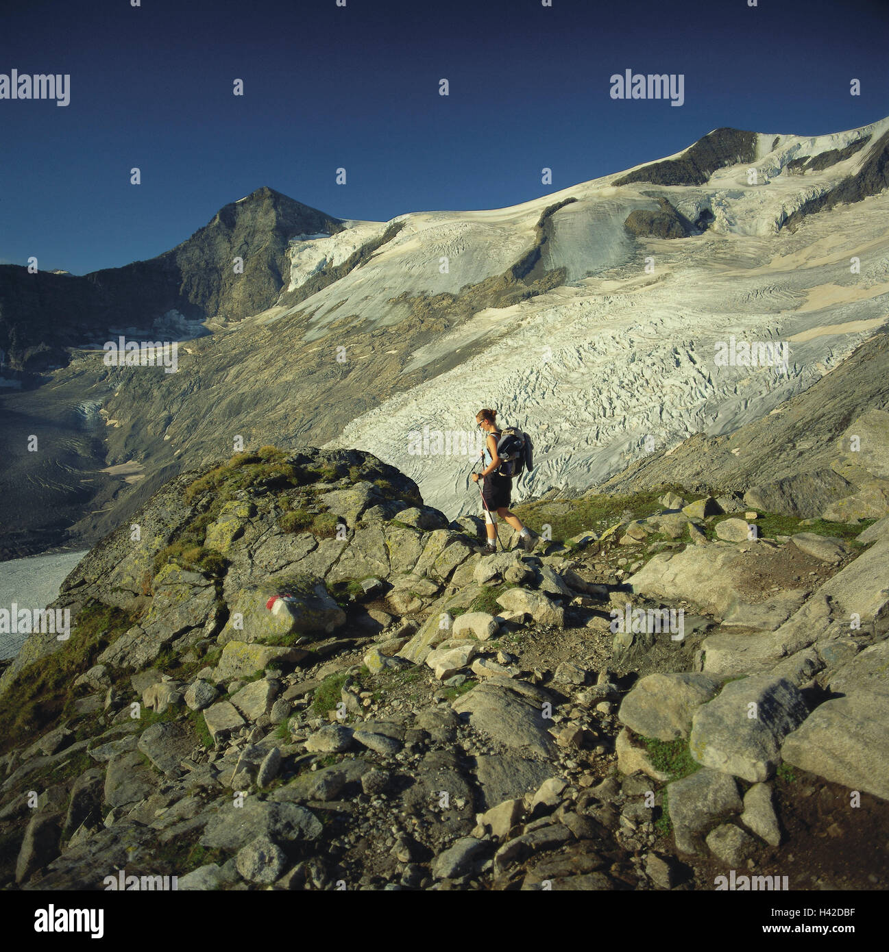 Austria, Osttirol, Matrei, Gletscherkees, traveller, mountains, mountains, scenery, mountain landscape, snow, ice, - Stock Image