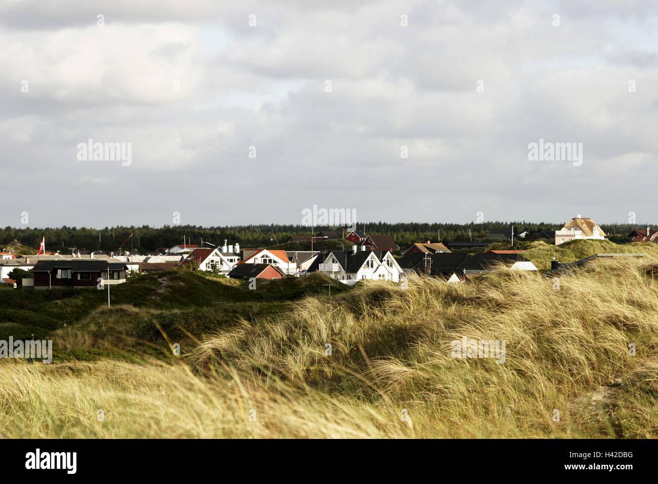Denmark, Vejers beach, place-opinion, houses, dunes, Scandinavia, place, coast, North sea, dune-landscape, destination, - Stock Image