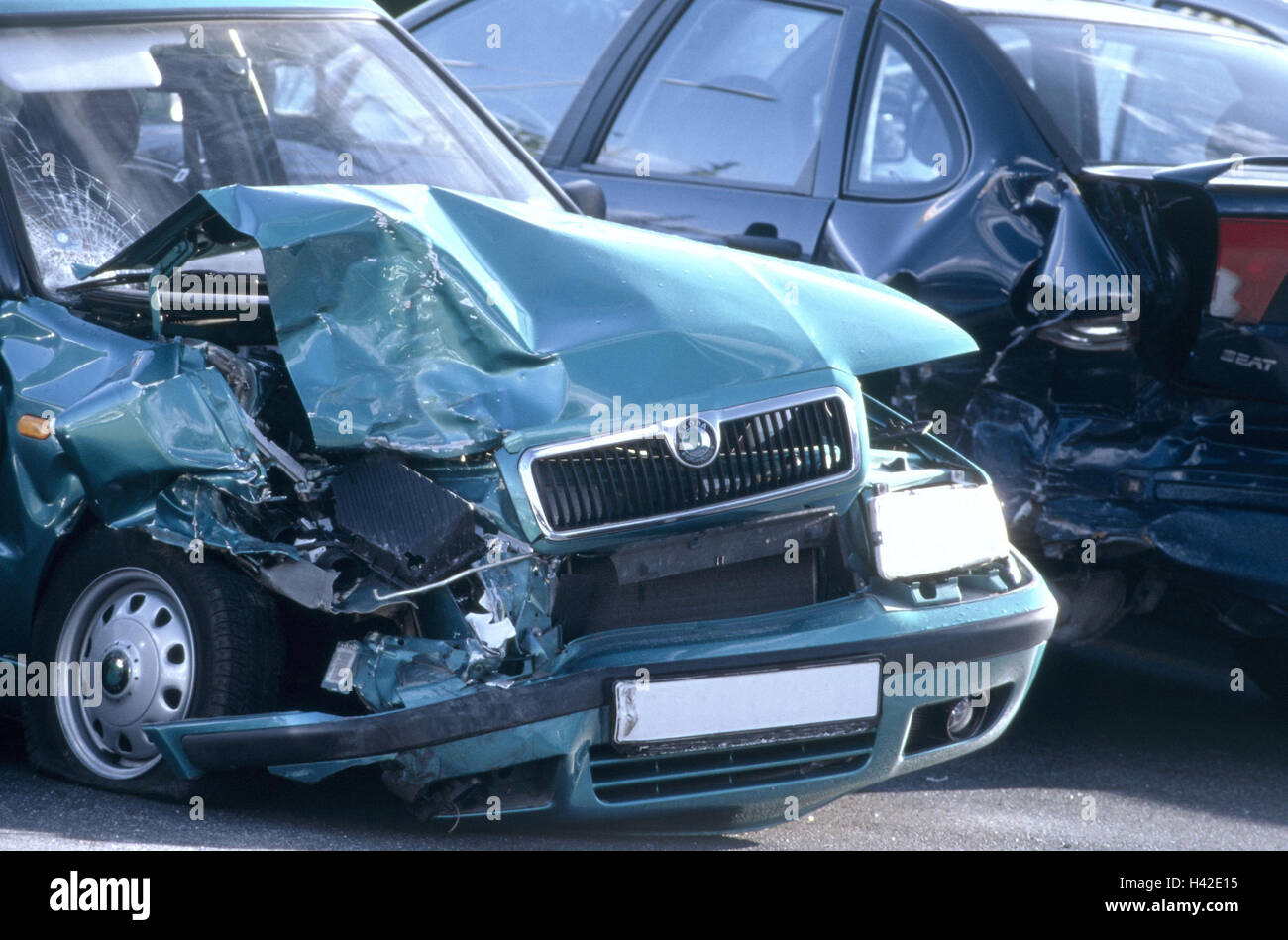 Accident, traffic, car, frontal damage, mark unrecognizable make ...