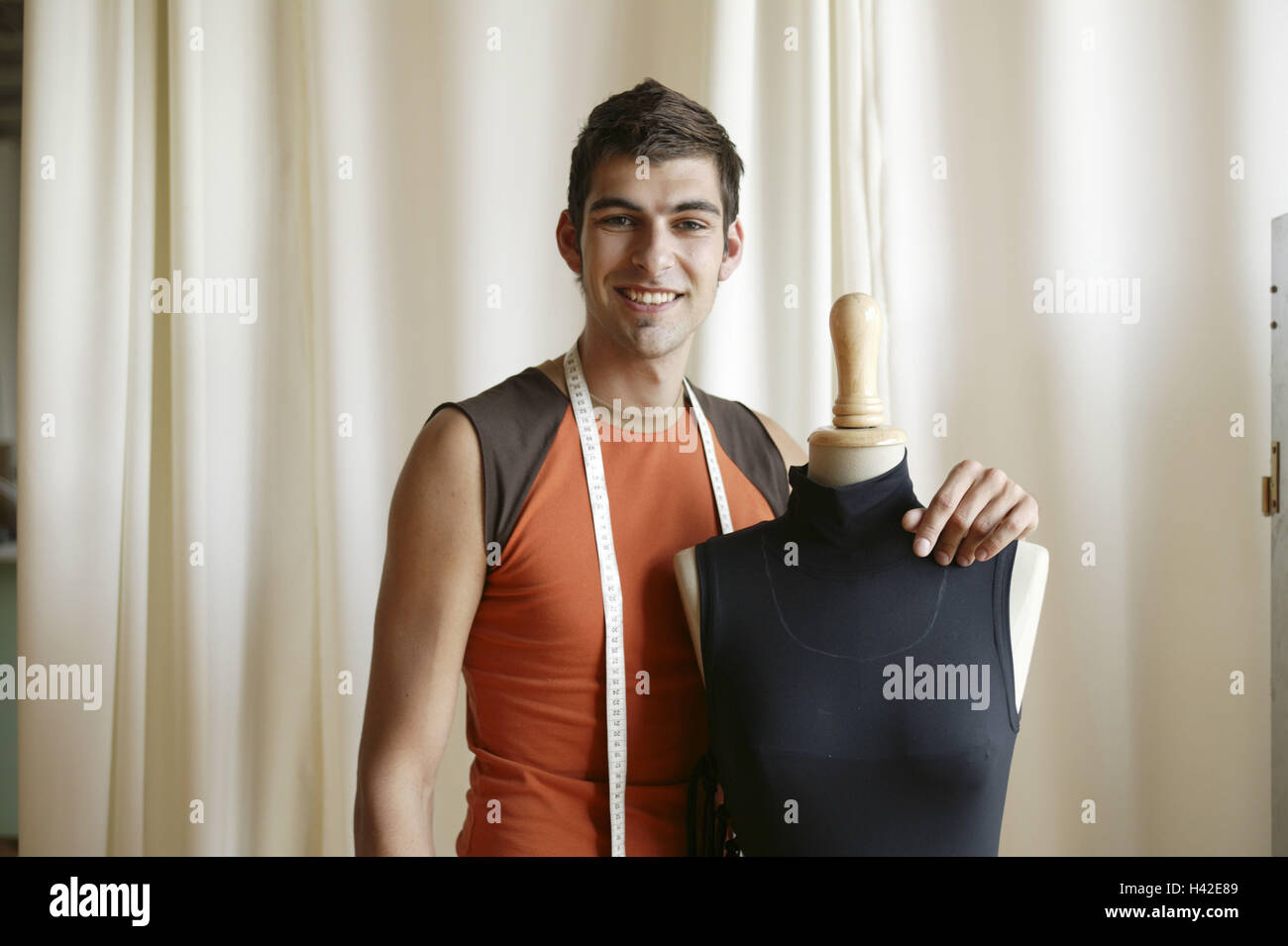 Man Young Tape Measure Dummy Half Portrait 20 30 Years Stock Photo Alamy