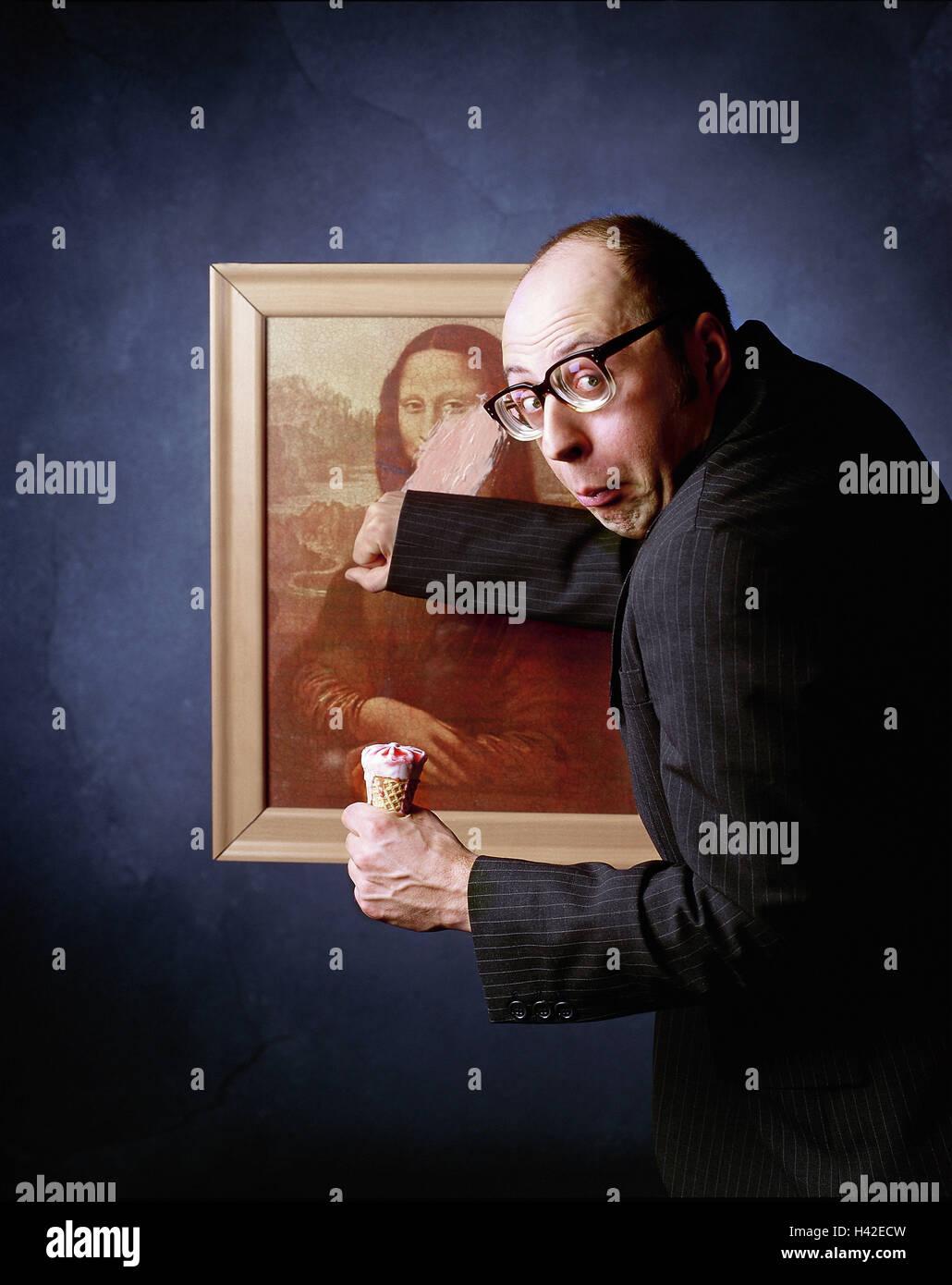 Art Gallery Man Suit Ice Cream Eat Paintings Stain