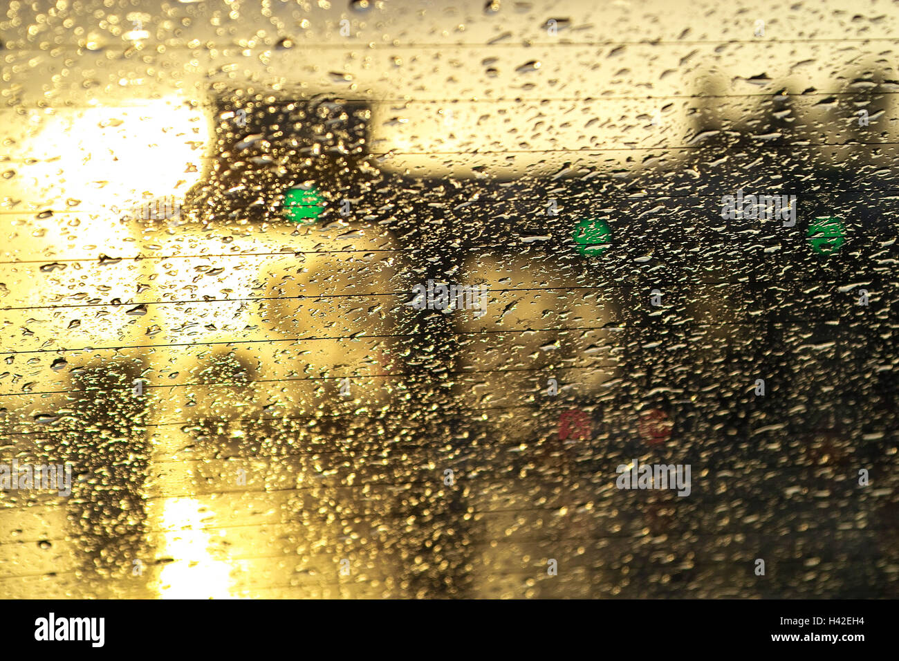 Private car, detail, gaze Heckscheibe, wet,,  Back light, twilight,  Car, vehicle, return disk, disk, window, Wetness, Stock Photo
