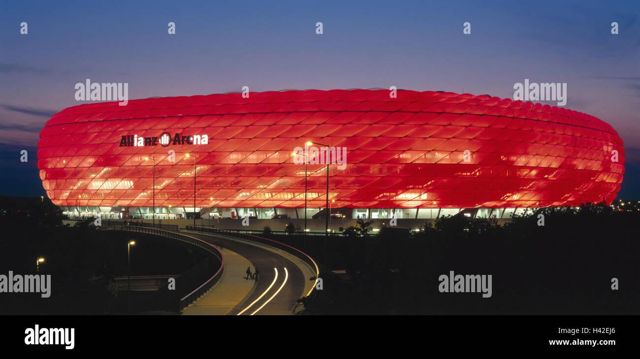 Germany, Upper Bavaria,  München-Fröttmaning, Fußballstadion, Alliance arena, red illuminated, no - Stock Image