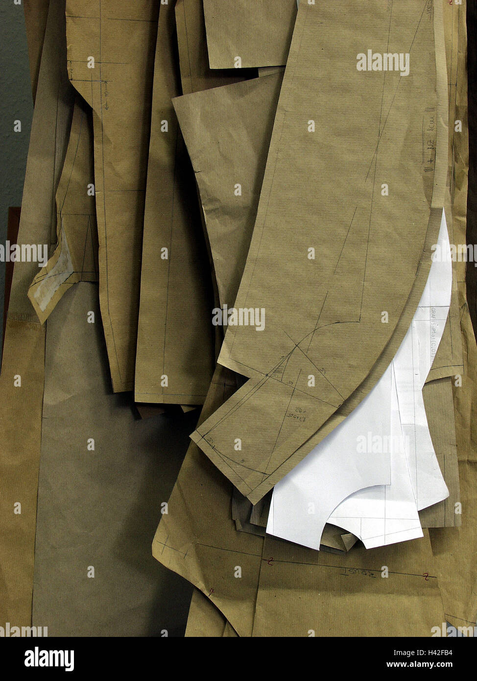 Tailoring, editing sample, detail, needlework, dimension tailoring, slices, samples, templates, tailor, sew, sewing, - Stock Image