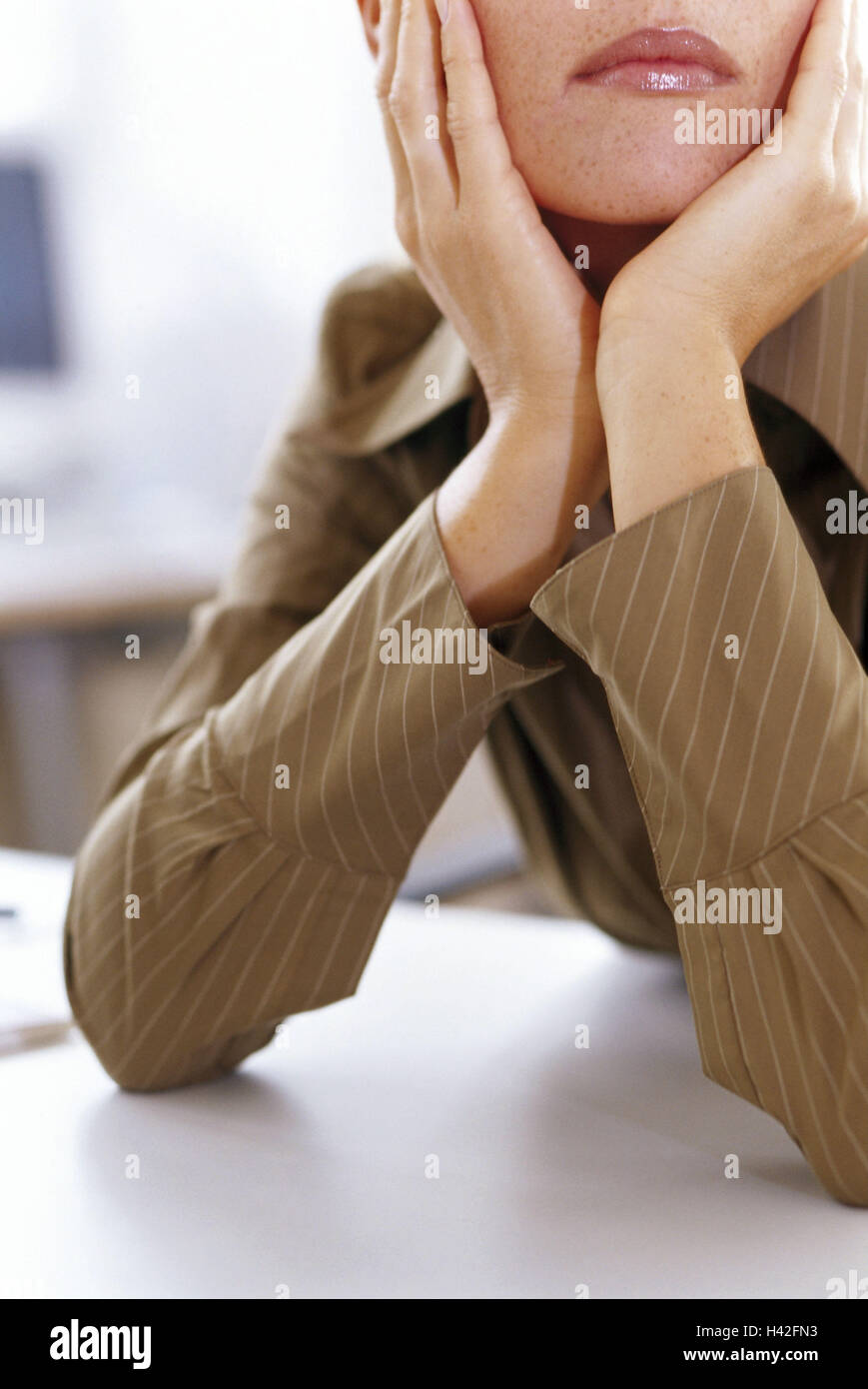 Office, manager, lost in thought, absently, head rest on, detail, office workers, clerks, woman, businesswoman, - Stock Image