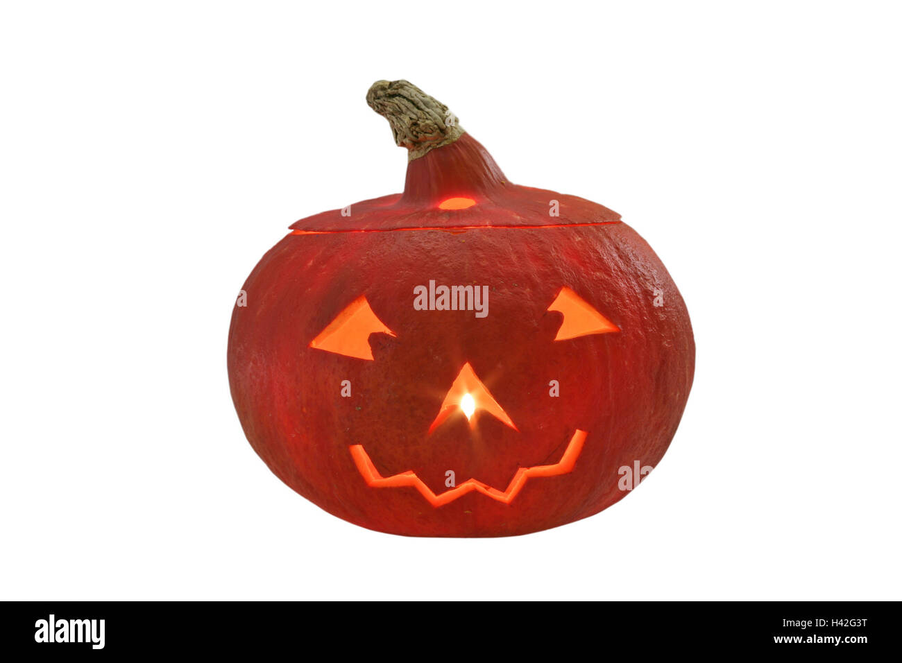 Halloween, pumpkin, face, hollowed out,  shines,   Autumn, party, custom hood, tradition, American, decoration, - Stock Image