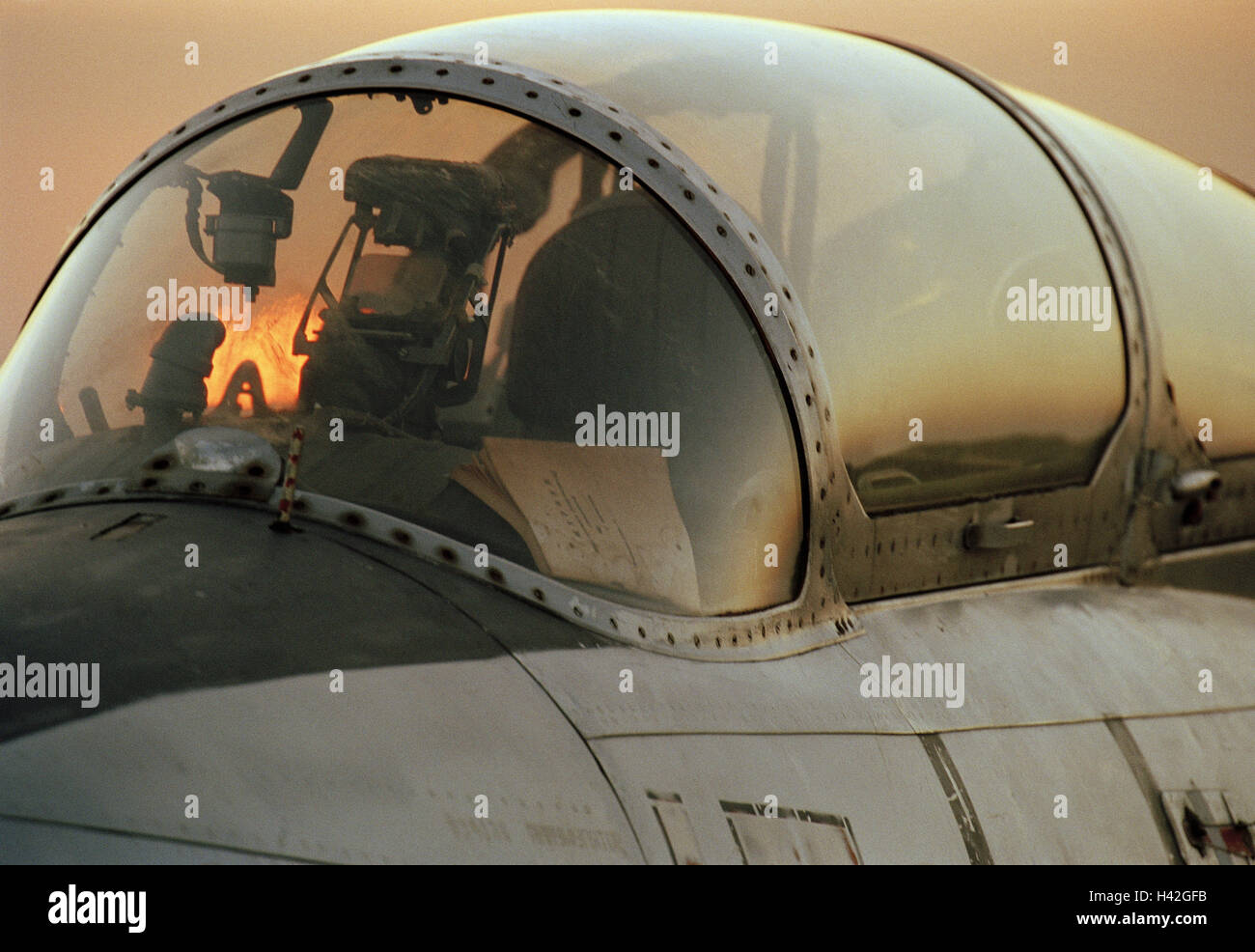 Kampfjet L-29, detail, cockpit,    Military, military airplane, fight airplane, airplane, training airplane for - Stock Image