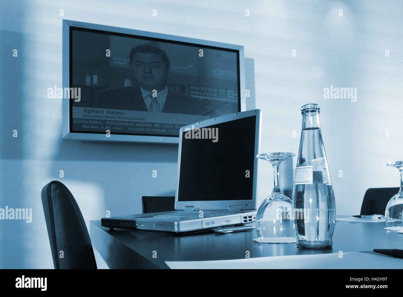 Meeting Room Table Glasses Water Bottle Laptop Monochrome Stock - Blue conference table