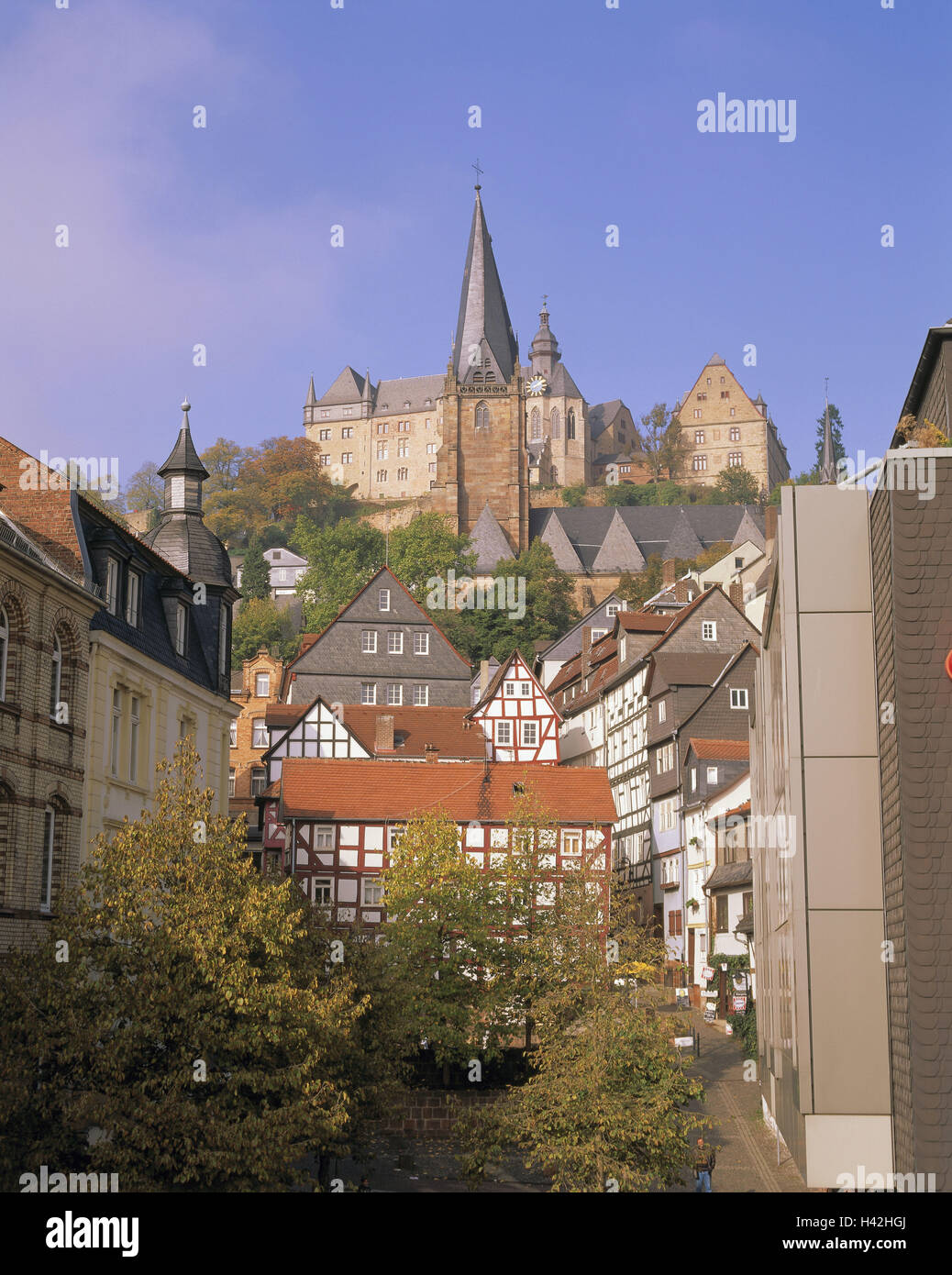 Germany, Hessen, Marburg, town view, Marien's church, lock, Europe, town, Old Town, houses, half-timbered houses, - Stock Image