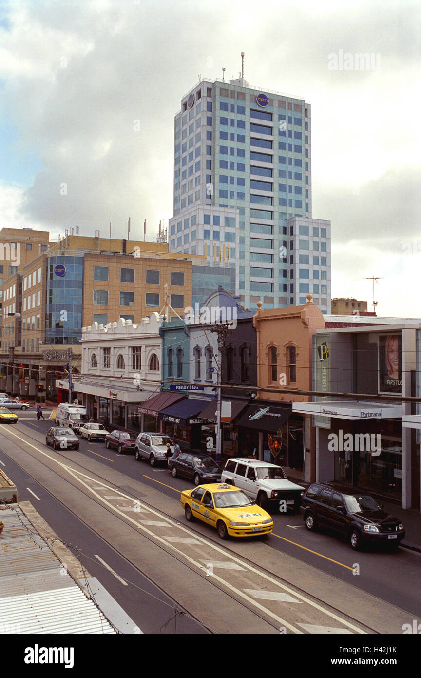 Australia, Melbourne, street scene, town, city, town, terrace, facades, brightly, colourfully, high rise, office Stock Photo