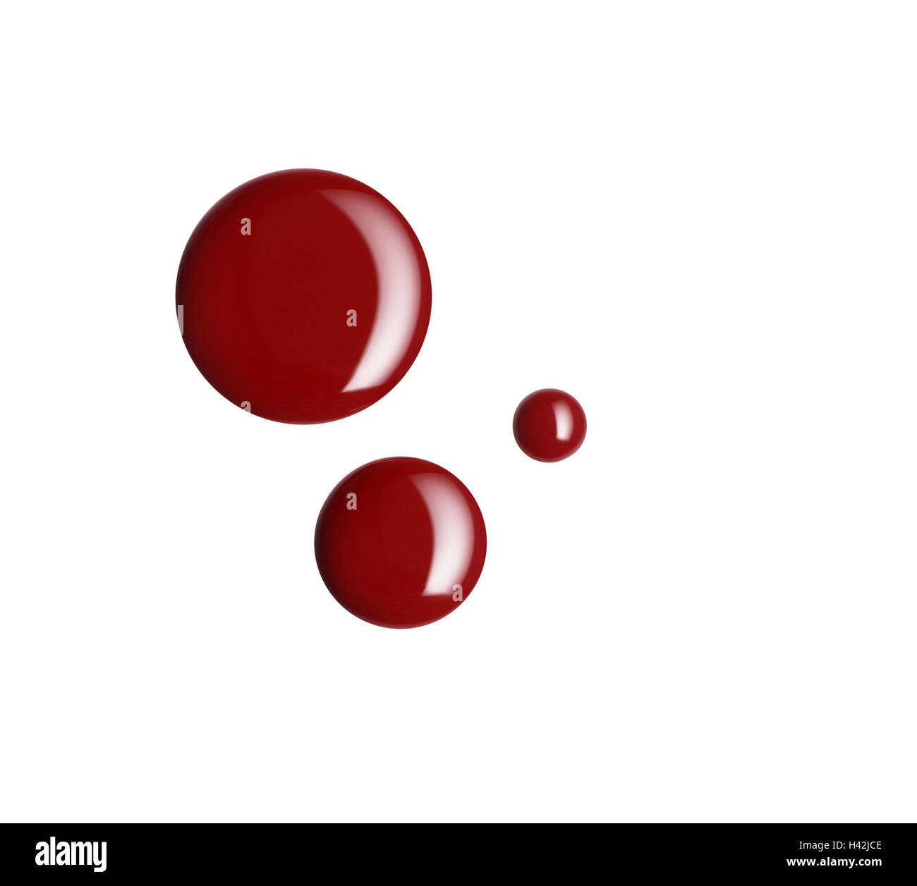 Drop, nail varnish, red, cosmetics, beauty, colour, Beauty, blotch, blot, blots, fluidly, thickly, liquid, brilliantly, - Stock Image