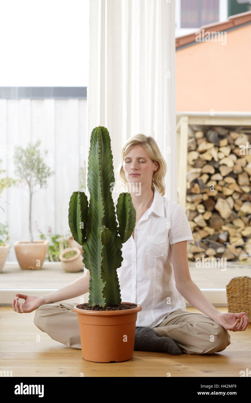 Woman, sit young, cross legged, meditation, indoor plant, spurge, floor, flat, room, decoration, plants, ornamental - Stock Image