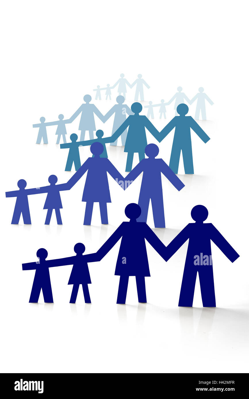 Paper little men, many, families, cut outs, - Stock Image