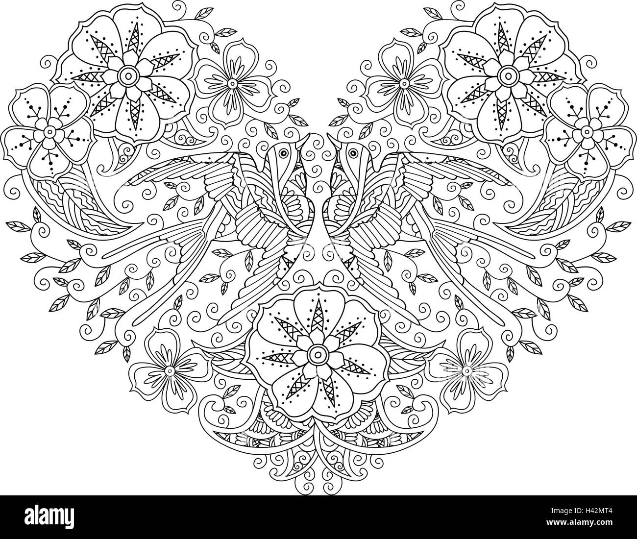 Coloring page with pair of beautiful flying birds in heart shape ...