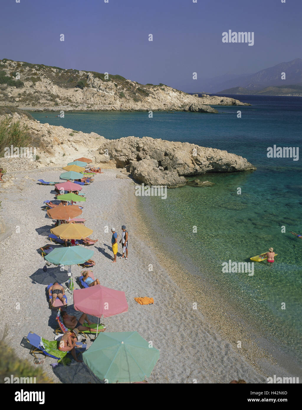Greece, island Samos, Pythagorion, beach, Proteas Bay, bathers, Mediterranean island, bay, beach, bay, beach, person, Stock Photo