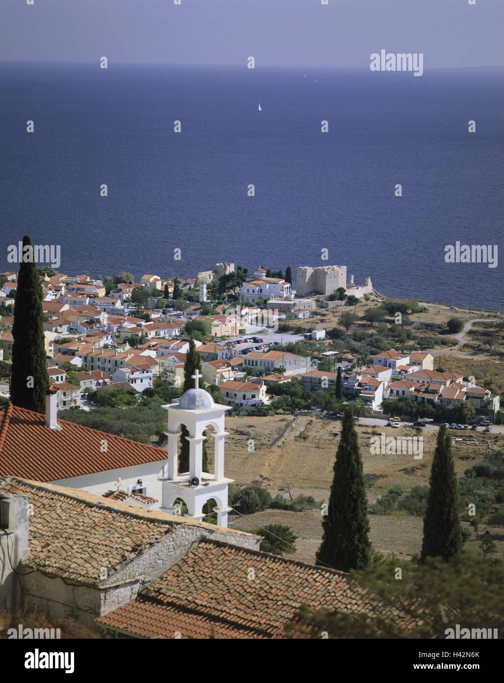 Greece, island Samos, Pythagorion, local overview, cloister Panagia, coastal region, coast, village, place, houses, Stock Photo