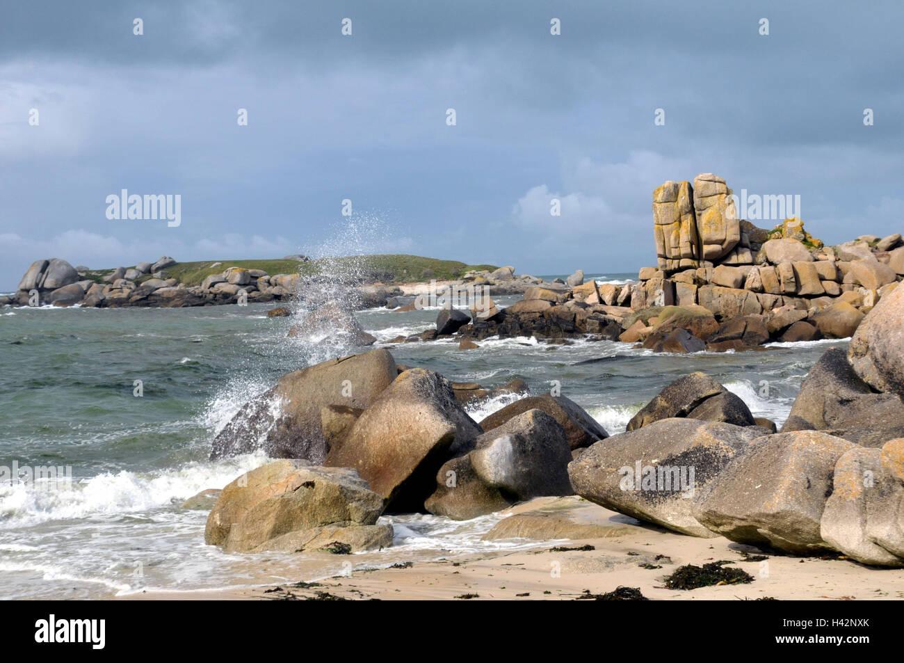 France, Brittany, Guisseny, bile coast, surf, - Stock Image