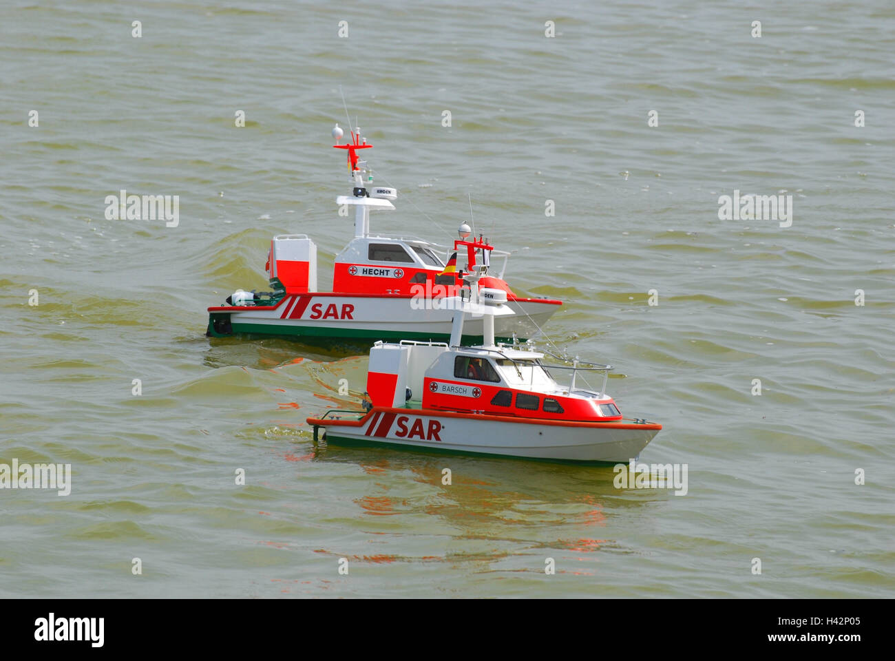 Model boots, rescue cruisers DGZRS, two, - Stock Image