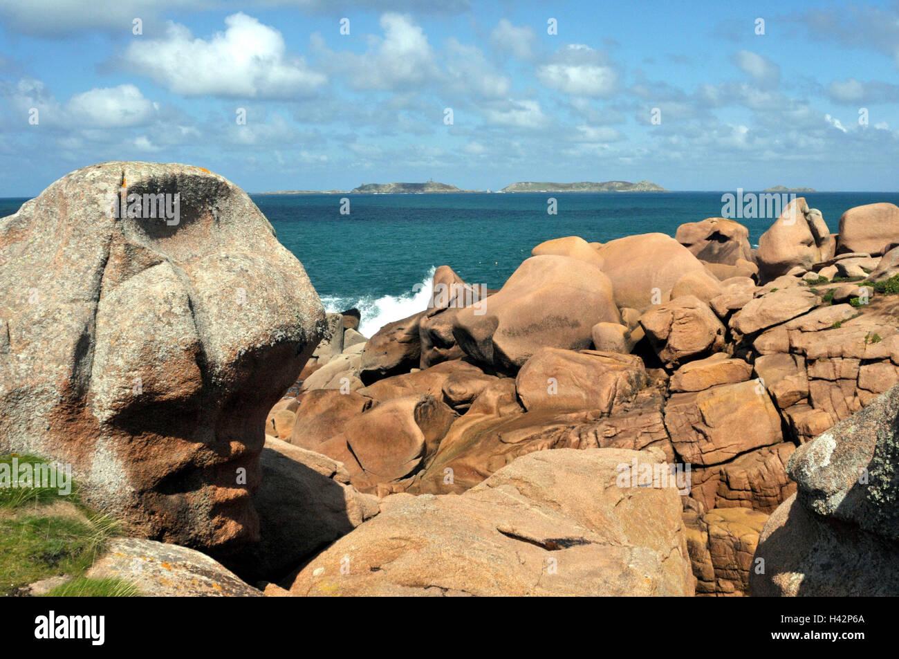 France, Brittany, St. Guirec, bile coast, - Stock Image