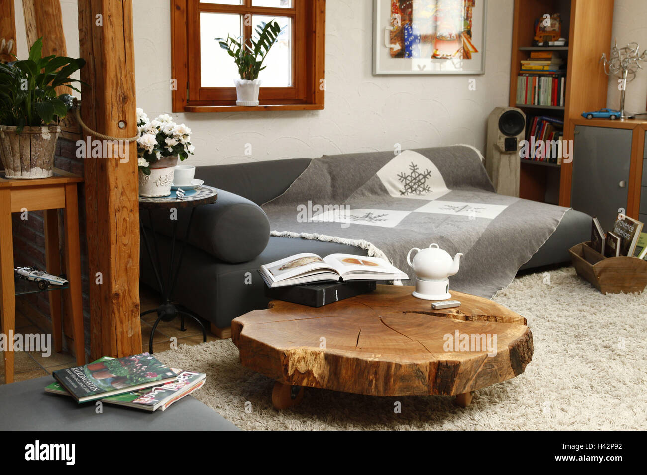 Sitting room, wooden table, - Stock Image