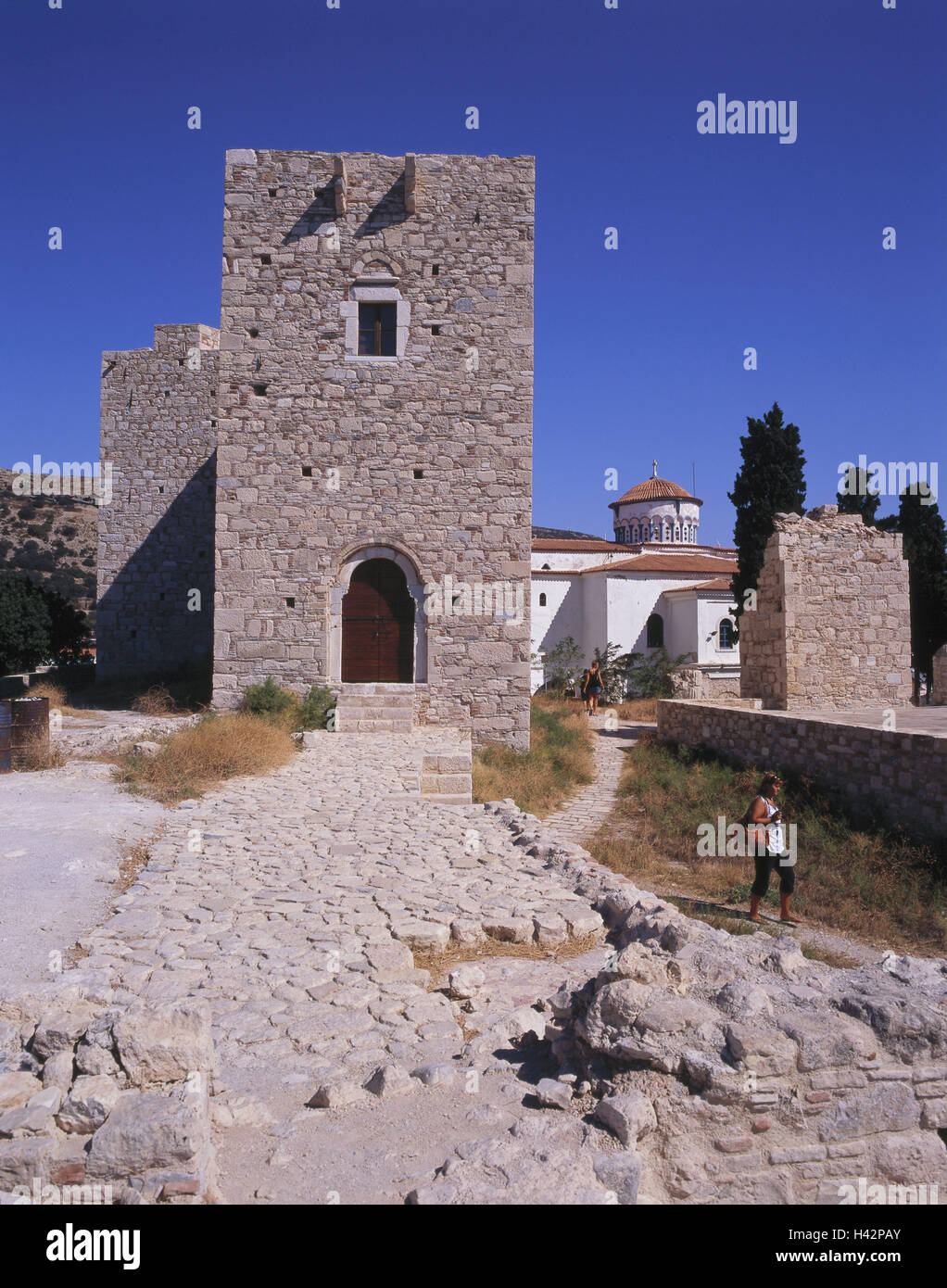 Greece, island Samos, Pythagorion, castle Logothetis, tourist, Mediterranean island, castle, castle grounds, structure, Stock Photo