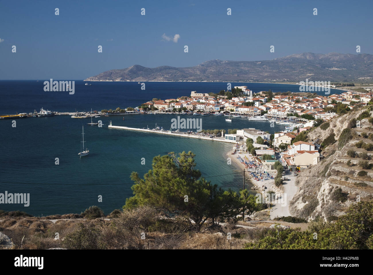 Remetaki Beach, Pythagorion, island Samos, Mediterranean island, Greece, Europe, Stock Photo