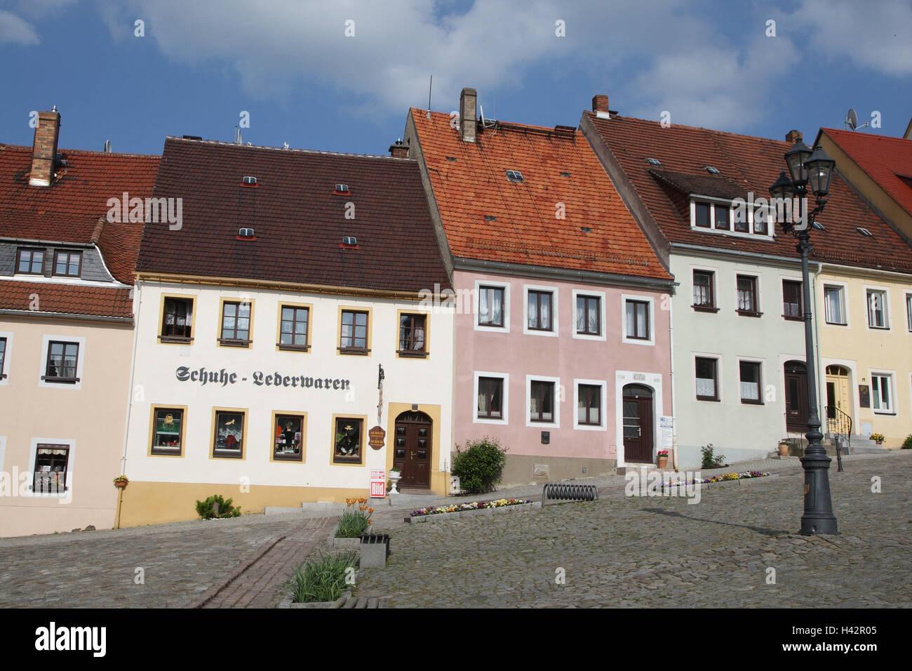 Germany, Saxon Switzerland, Stolpen, Old Town, terrace, - Stock Image