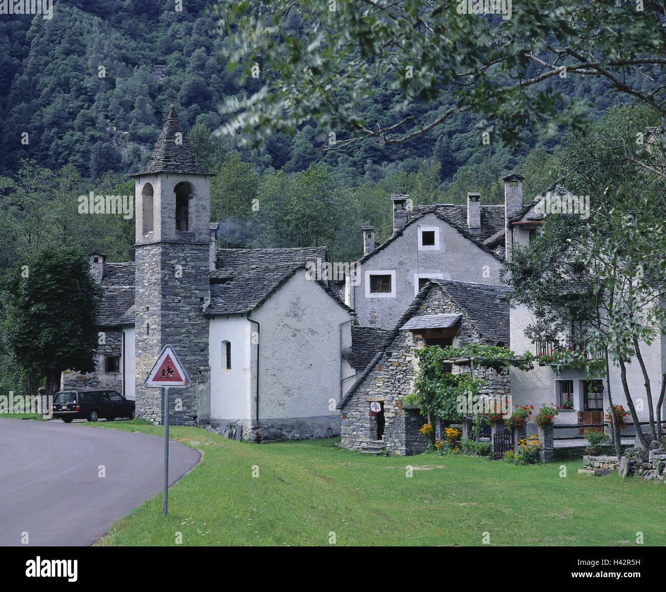 Switzerland, Ticino, mountain village Ritorto, local view, houses, church, detail, Europe, alp room, place, village, - Stock Image