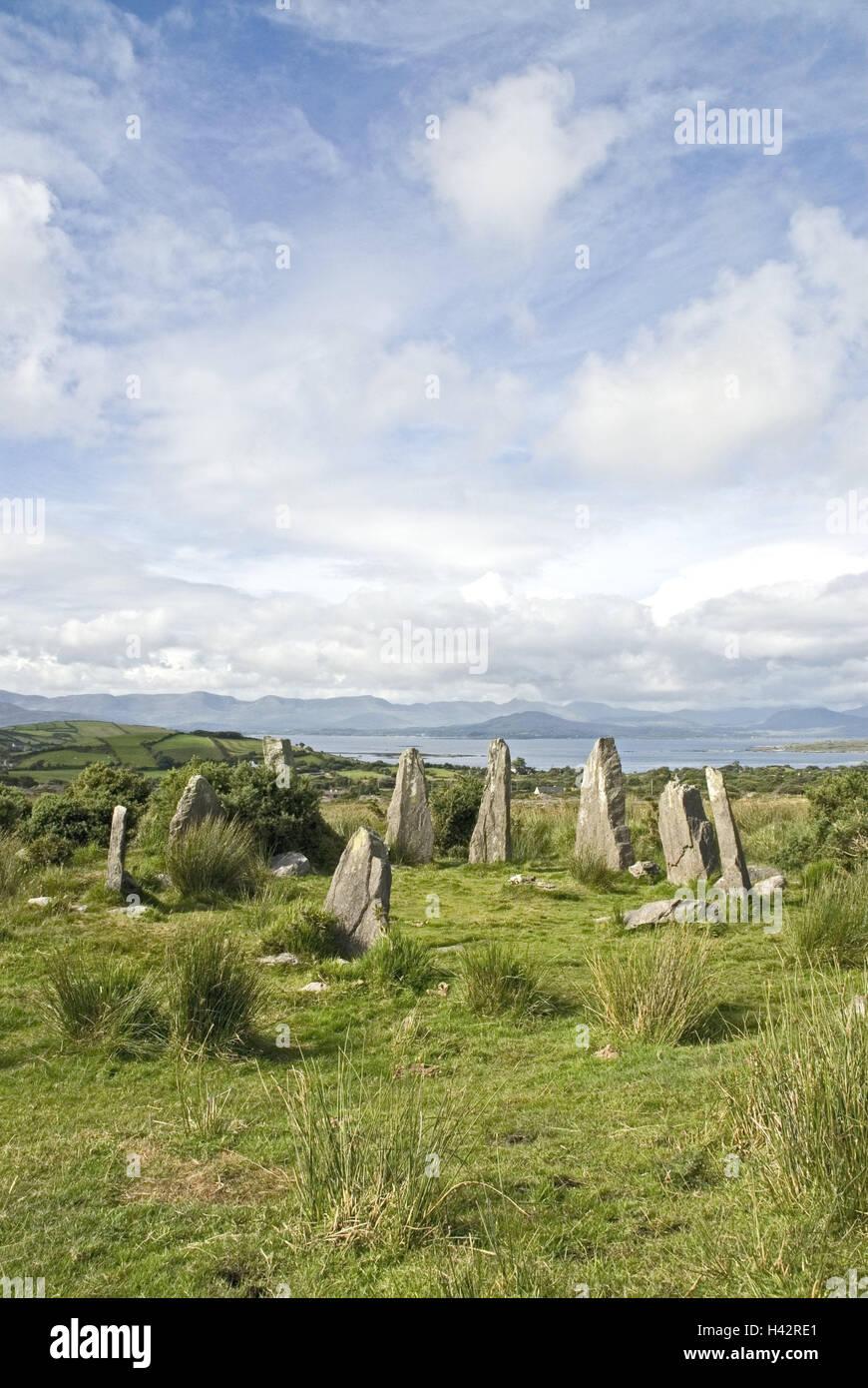 Ireland, Munster, Beara Peninsula, Ardgroom, Stone Circle, stone circle, megalith, Bronze Age, scenery, prehistorically, - Stock Image