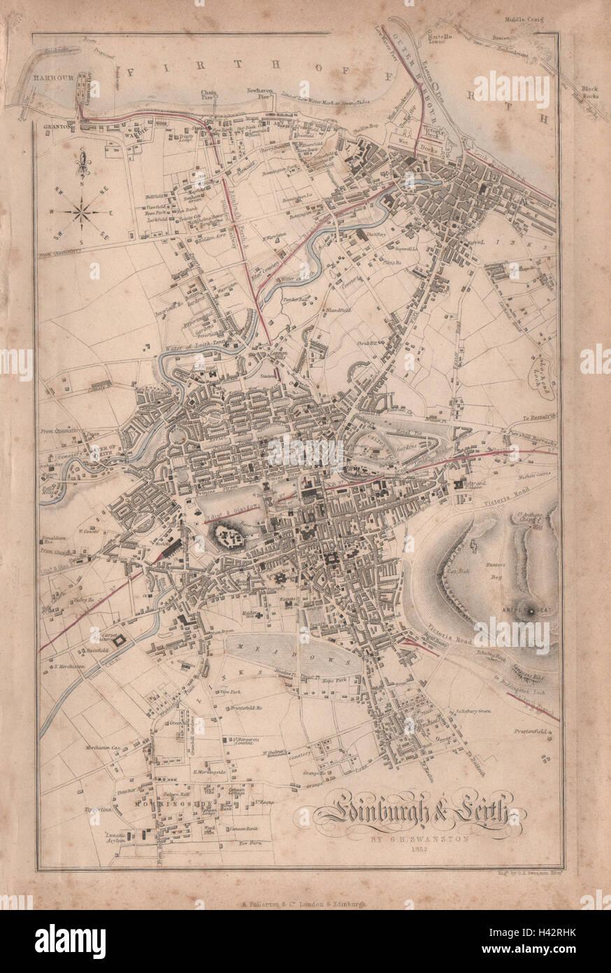 Leith Scotland Map.Edinburgh Leith Antique Town City Plan Scotland Swanston 1868