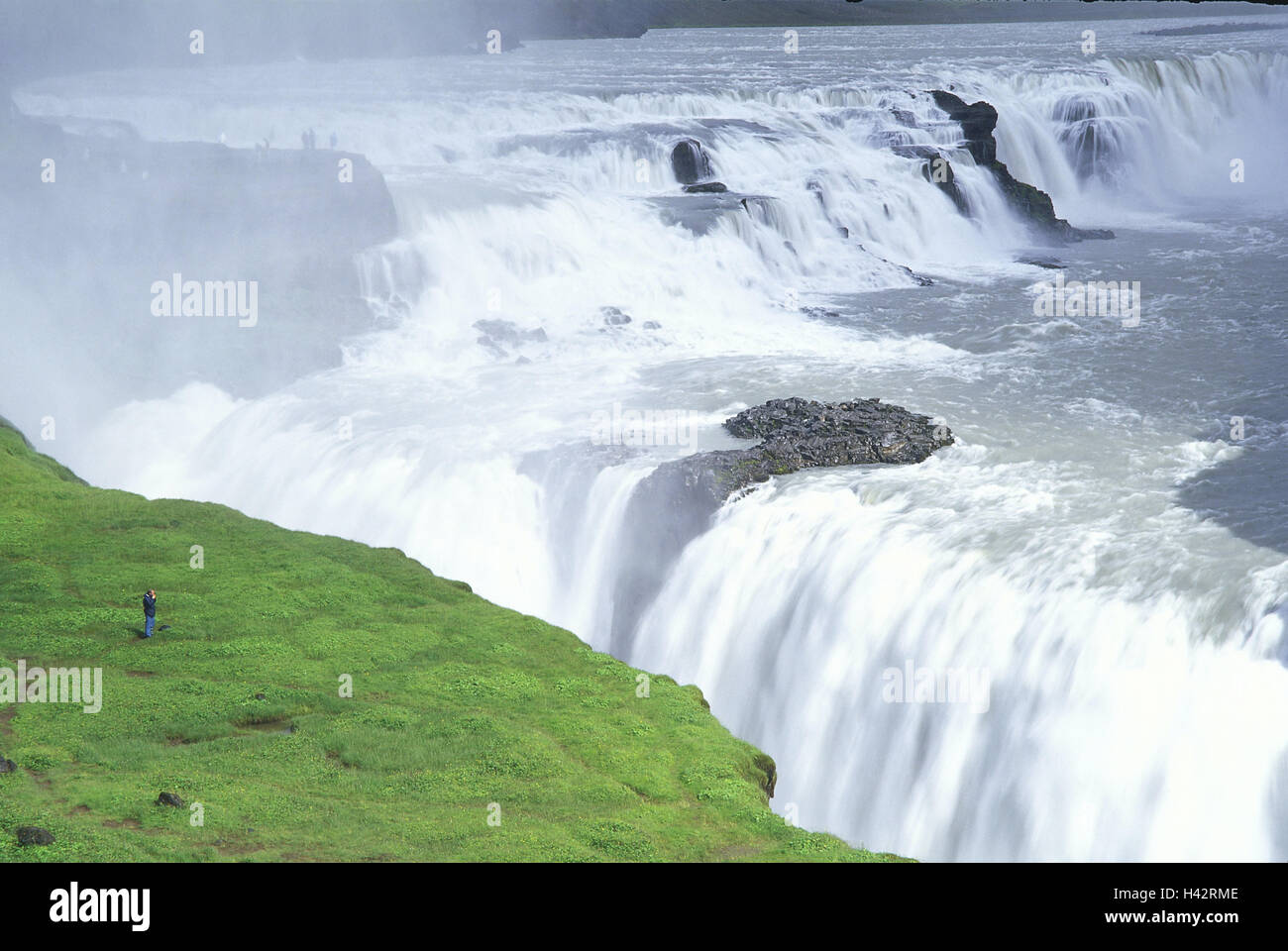 Iceland, Gullfoss, waterfall, tourist, Iceland, island, destination, place of interest, nature, spectacle of nature, - Stock Image