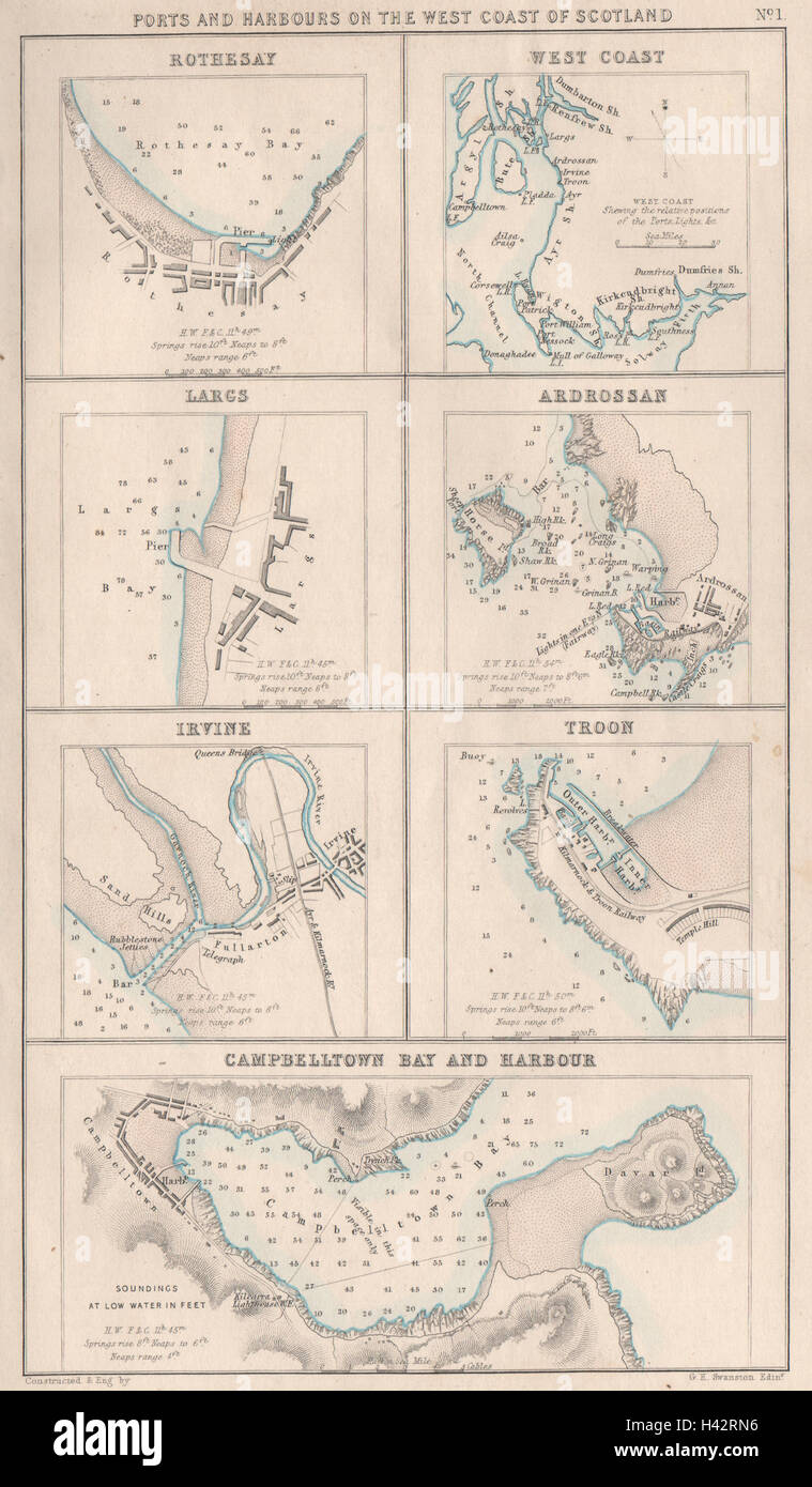 Troon Scotland Map.Scotland West Ports Rothesay Largs Ardrossan Irvine Troon Stock