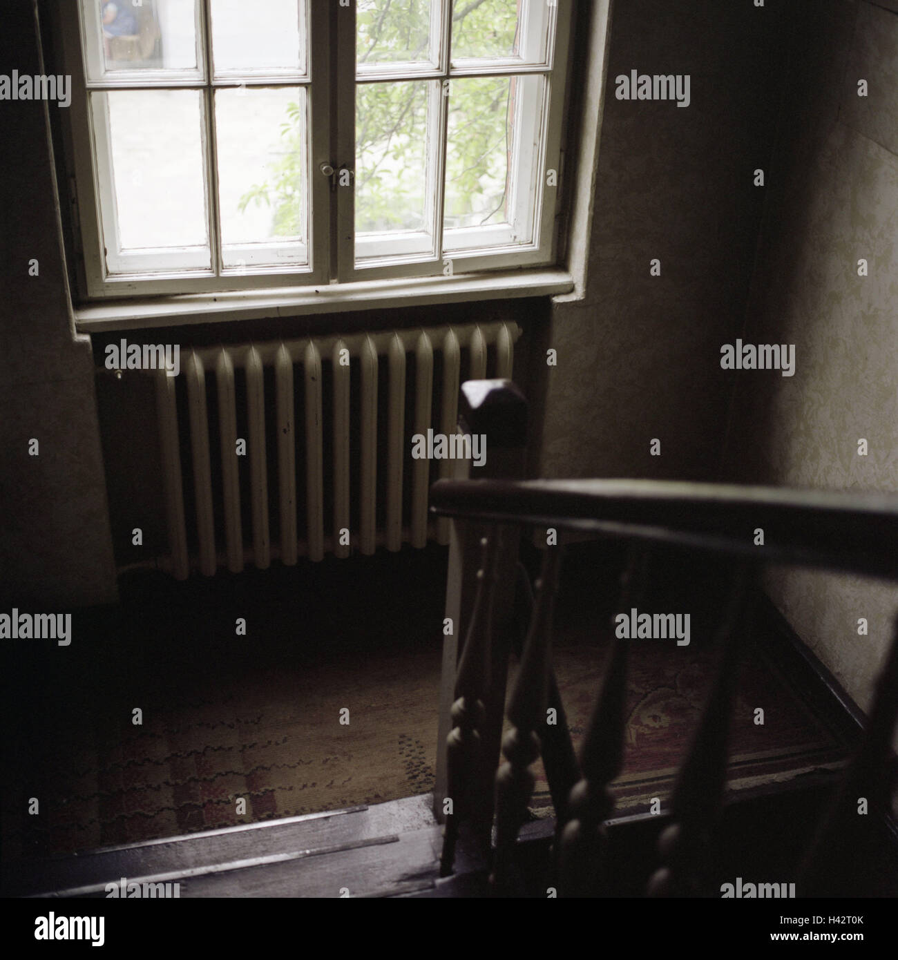 Staircase, interior, window, old, Poland, Rybnik, psychiatry, building, transom windows, stairs, banisters, railings, - Stock Image