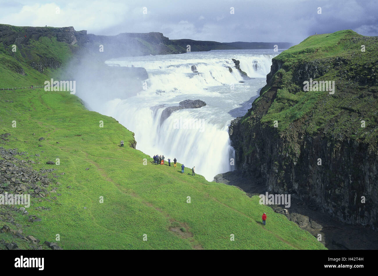 Iceland, Gullfoss, waterfall, tourist, Iceland, island, destination, place of interest, nature, spectacle nature, - Stock Image